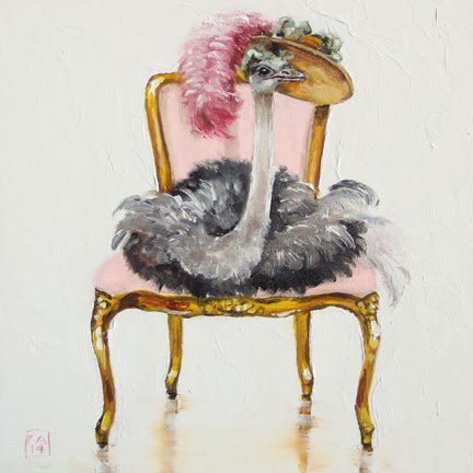 Kimberly Applegate's Cute Paintings Of Birds In Chairs