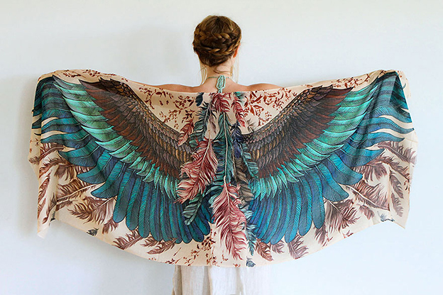Beautiful Bird Scarves Give The Impression That The Wearer Has Wings