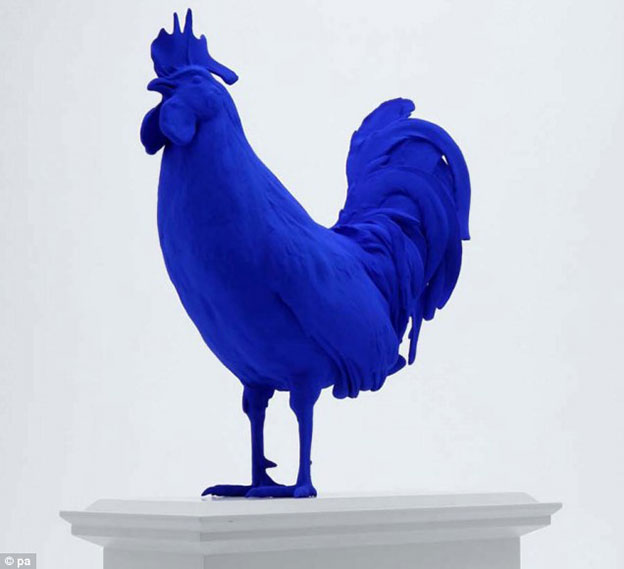 Big Blue Cock Takes Its Place On The Fourth Plinth In Trafalgar Square