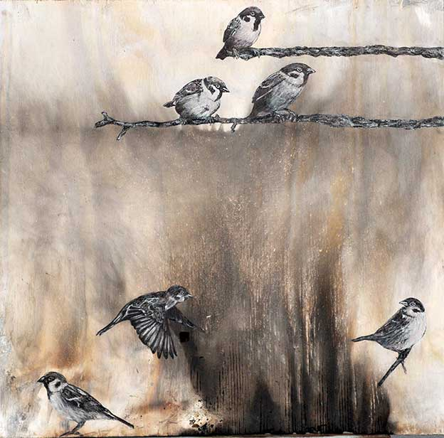 Mixed Media Sparrows On Burnt Wood Inspired By The Gospel Of Matthew