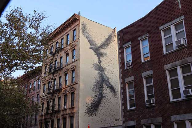 DALeast's Massive Painting Of Birds As Part Of the East Village Mural Project