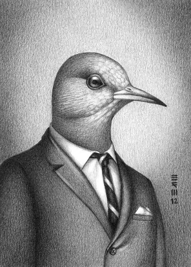 Drawings Of Birds Wearing Clothes That Were Fashionable In The Year They Went Extinct