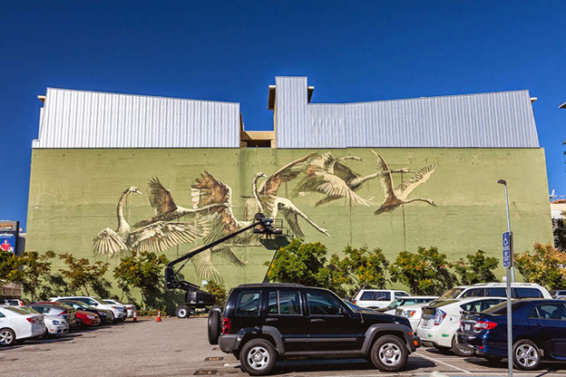 Faith47's Mural Of Majestic Swans On The Streets Of Los Angeles