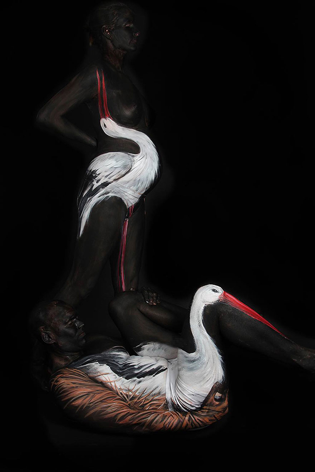 Gesine Marwedel Transforms People Into Birds Using Body Painting