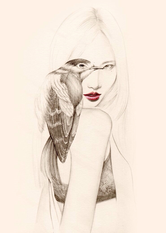 okArt's Delicate Pen And Pencil Drawings Of Girls With Birds