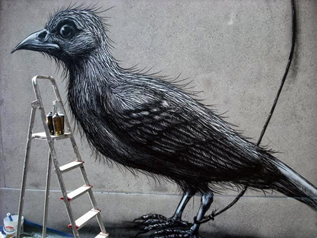 ROA's Monochromatic Bird On The Streets Of Lecco, Italy