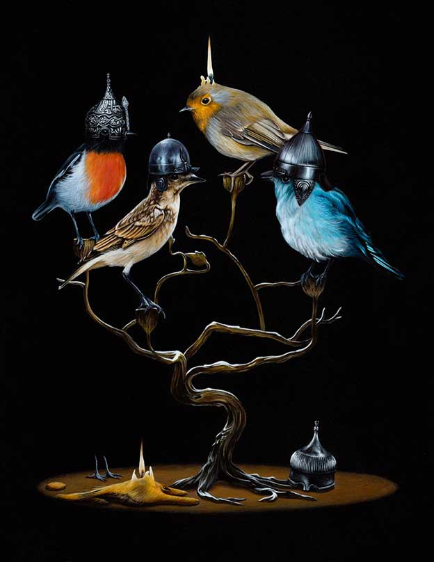 Jacub Gagnon's Surreal Paintings Of Birds In Unnatural Settings