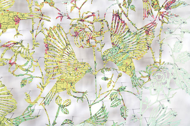 Delicate Montages Of Birds Laser Cut From Maps By Claire Brewster