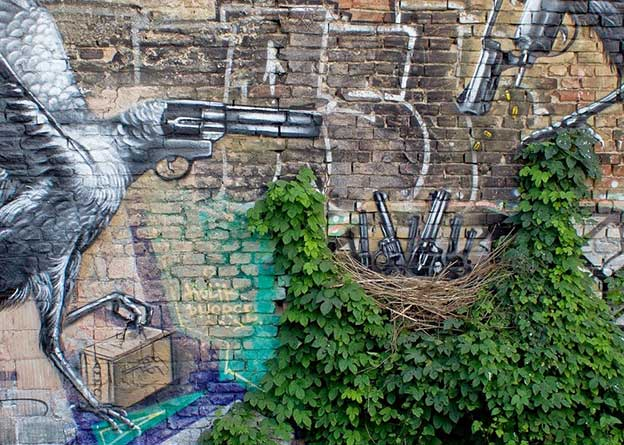 Lonac's New Piece 'Nest' Featuring Birds With Gun Heads Painted On The Streets Of Zagreb, Croatia