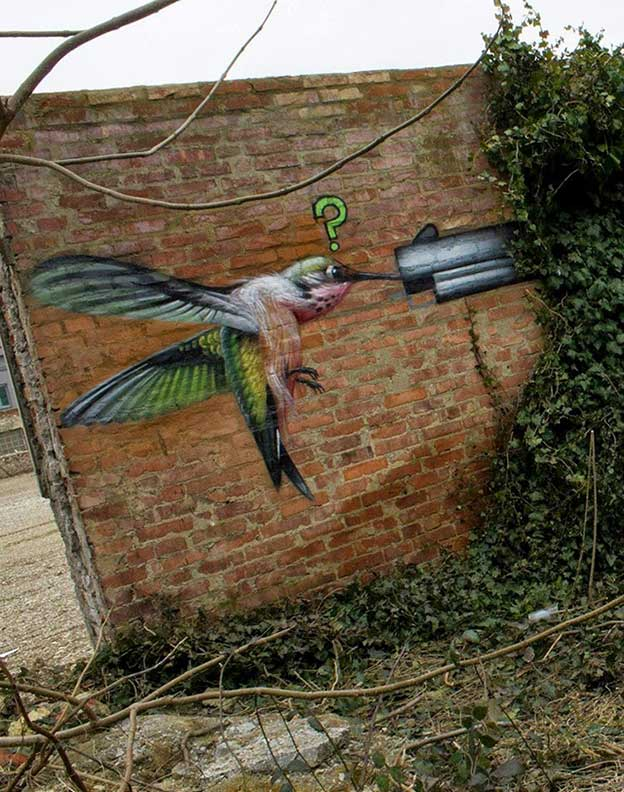 Lonac Paints Piece Featuring His Gun Bird With A Hummingbird