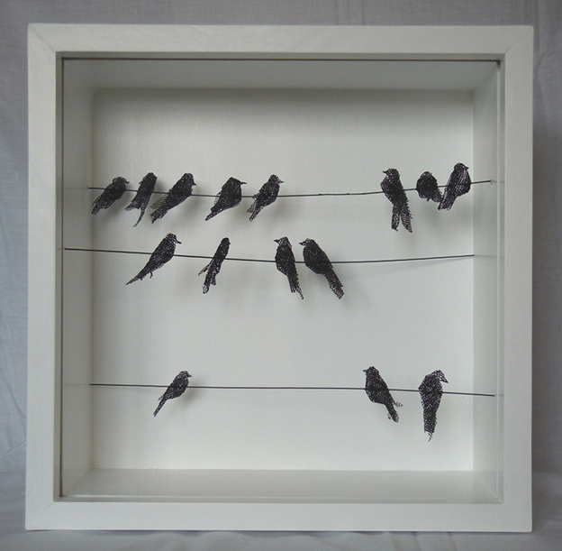 Delicate Wire Mesh Sculptures Of Birds In Boxes