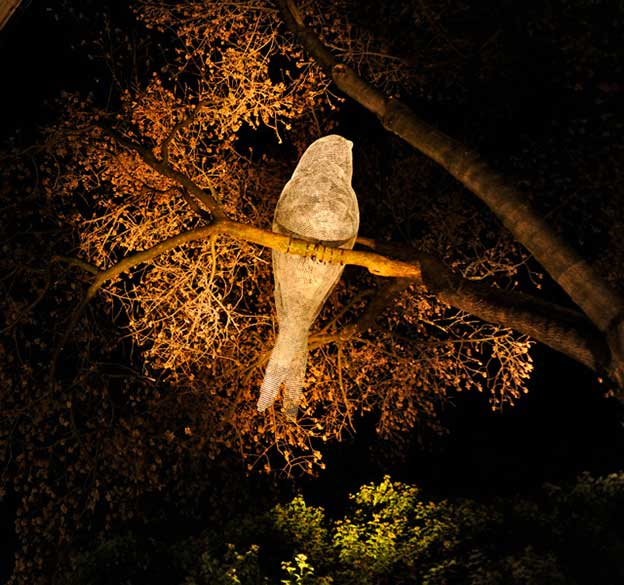 Giant Luminous Wire Birds In Trees By Cédric Le Borgne