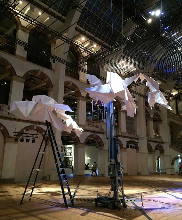 Sipho Mabona's Giant Flocks Of Origami Birds