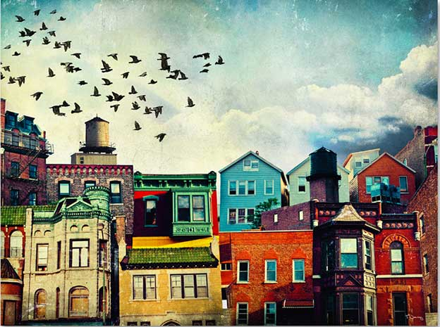 Flocks Of Birds Fly High Above Paintings Of American Cityscapes