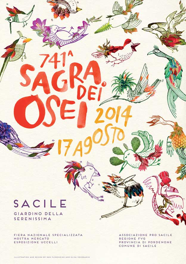 Illustrations And Designs For The 741st Sagra Dei Osei Which Takes Place In Sacile, Italy