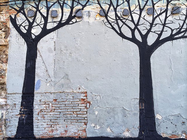 Sam3's Mural In Barcelona Of Trees And Birds