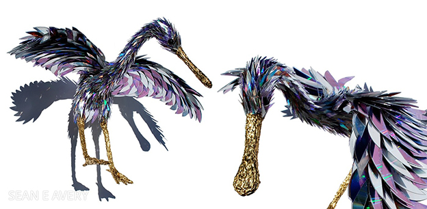 Amazing Sculptures Of Birds Made From Shards Of Broken CDs