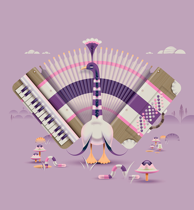 Andrew Nye's Series Of Bird Illustrations With A Musical Theme