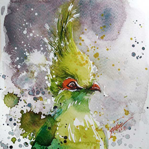 Spattered Watercolour Paintings Of Birds