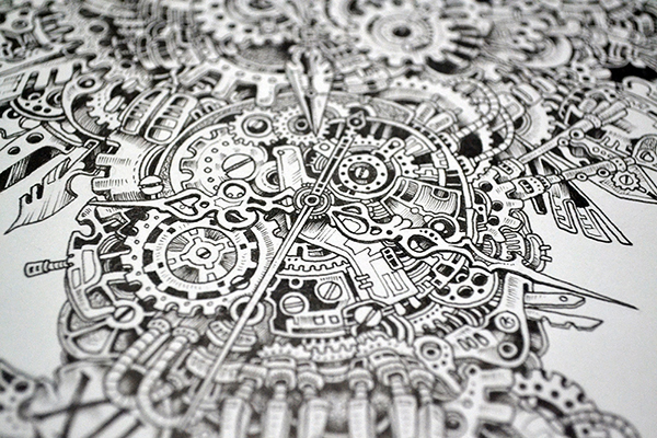 Kerby Rosanes Insanely Detailed Doodle Of An Owl Made Of Clock Parts