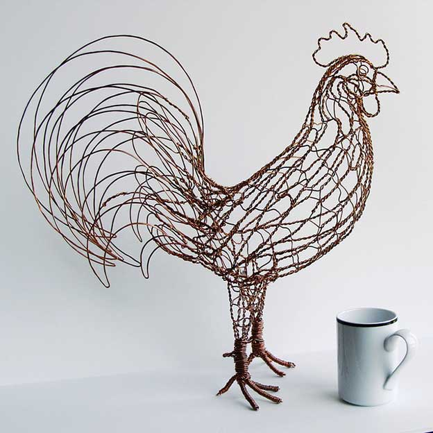 Ruth Jensen's Abstract Twisted Wire Bird Sculptures