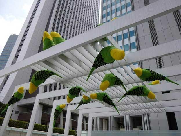 Giant Textile Birds By Wakako Kawakami